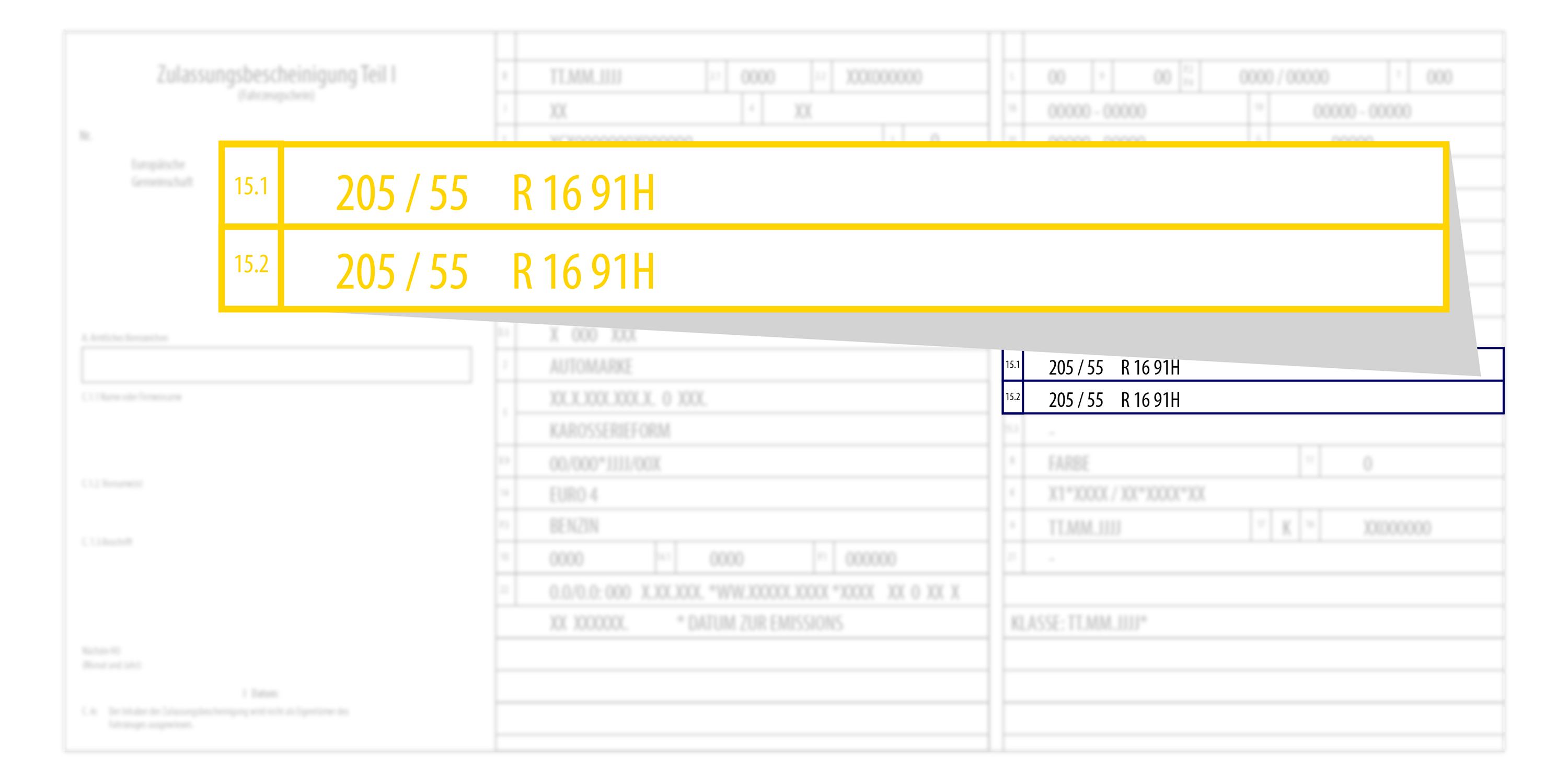 The tyre size is in the vehicle registration document.