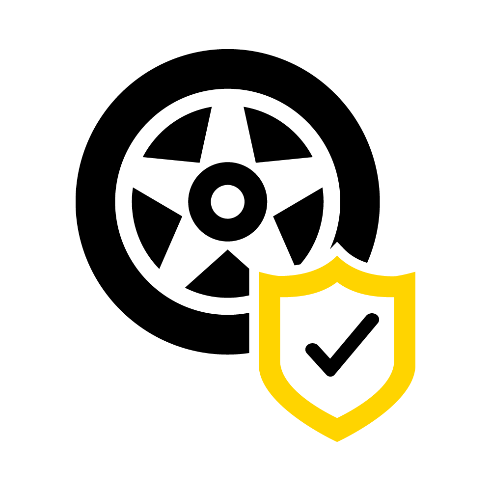 A symbol with a tick shows that a tyre is in good condition.