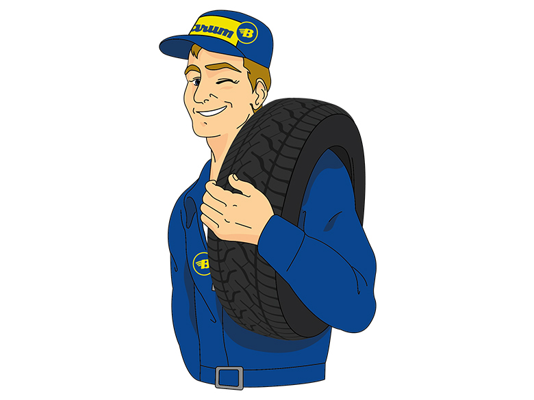 Der Barum tyre expert is carrying a tyre and winking.