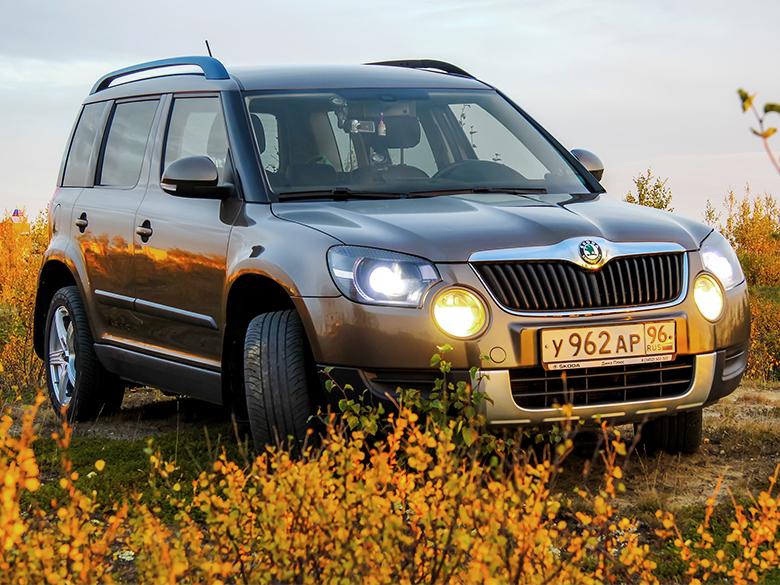 Automobil s pneumatikami XL sa nachádza medzi kríkmi.