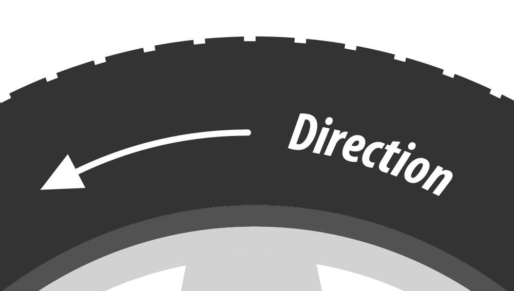 Šípka ukazuje smer chodu na pneumatike.