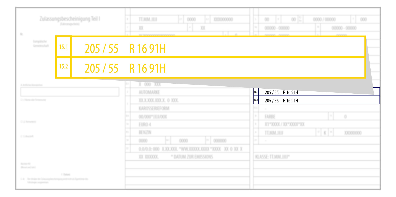 Il libretto di circolazione contiene la dimensione degli pneumatici.