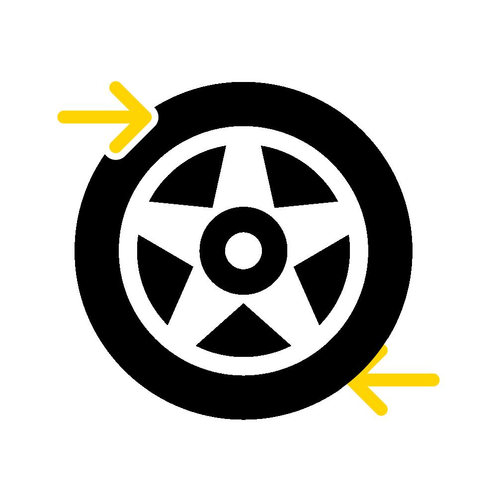 Due frecce indicano il senso di marcia di uno pneumatico.