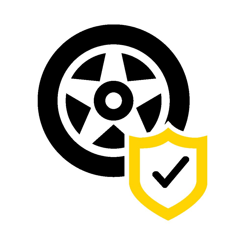 Symbol z haczykiem pokazuje, że opona jest w porządku.