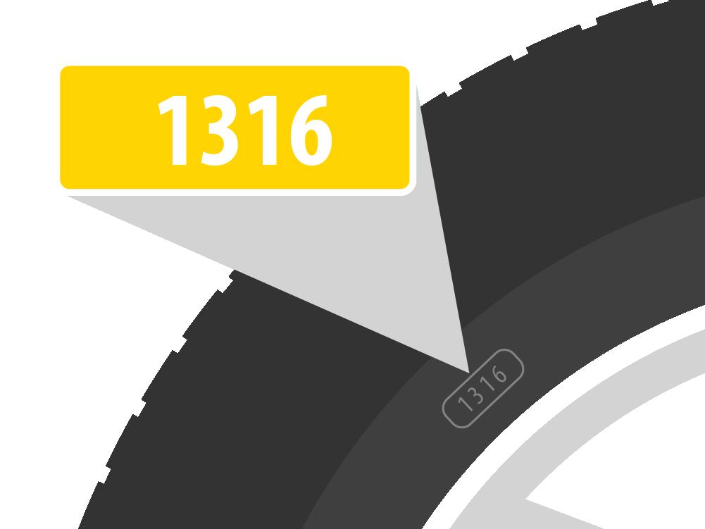 Eine Reifenmarkierung zeigt das Alter des Reifens an.
