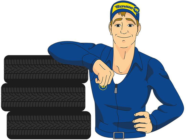Der Barum Reifenexperte lehnt an einem Stapel Reifen.