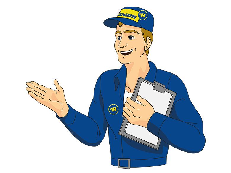 Der Barum Reifenexperte hält ein Klemmbrett und streckt eine Hand aus.