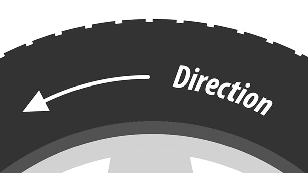 "Stylised image of a tyre, a curved arrow points from right to left. The word ""direction"" is next to the arrow."