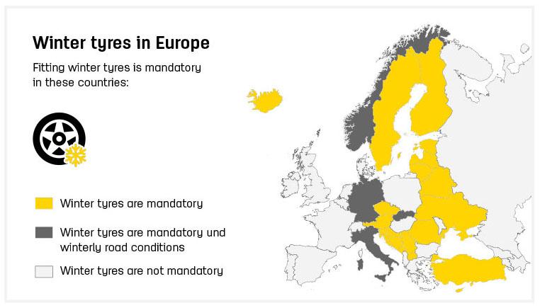 Kedy používať zimné pneumatiky v Európe